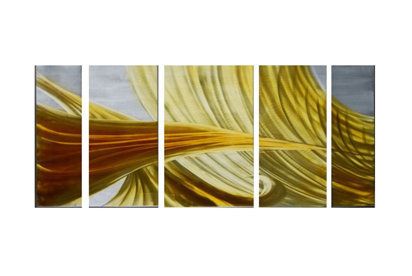 Orange Flow Ribbon Metal Wall Art Home Decor Painting