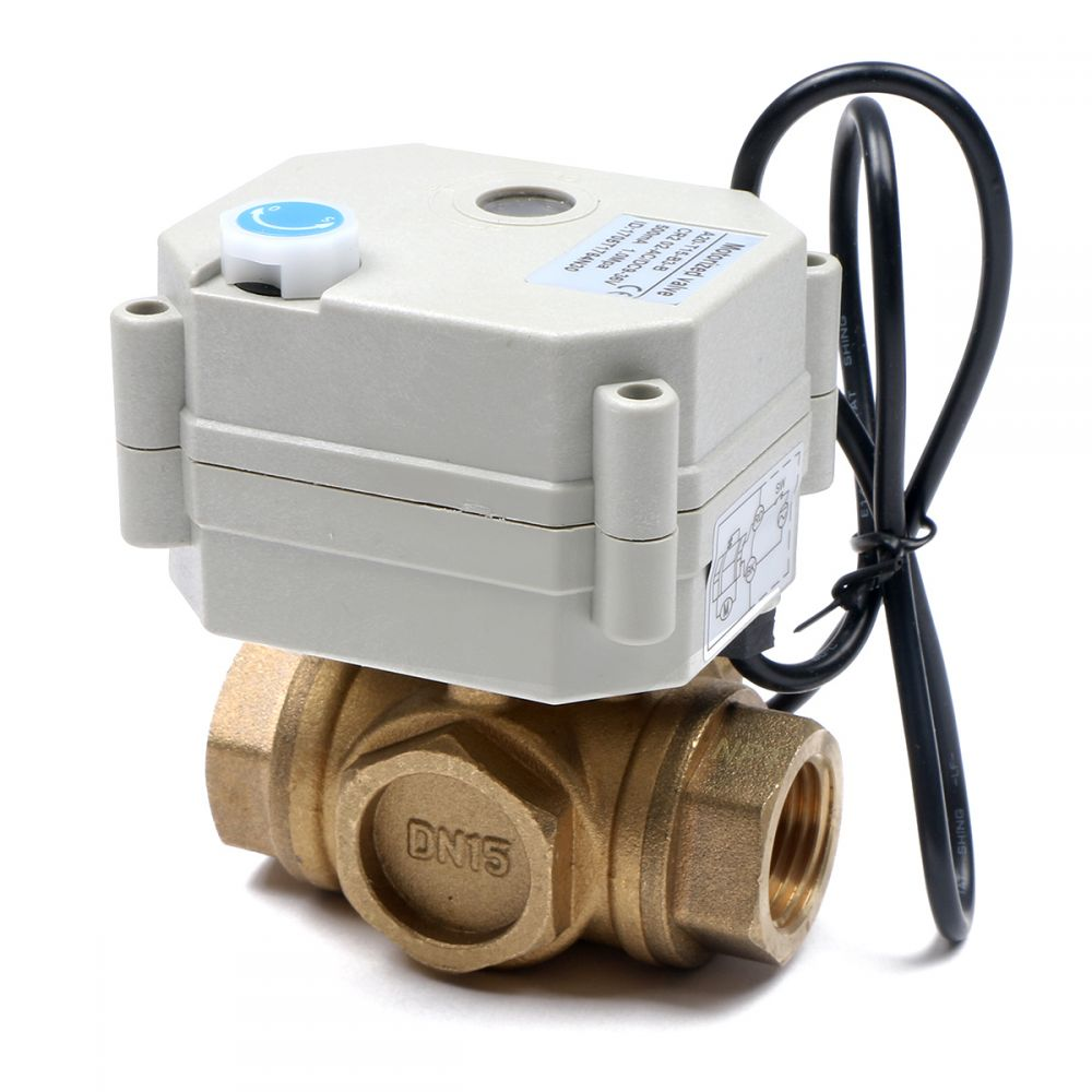 Motorized Ball Valve 1 2 Brass 3 Way 9 36v Dc By Us Switch Automation Is Ideal For Those That Need Normally Closed Valves Easily Wired To A Simple On Off With Fail Safe Auto Return