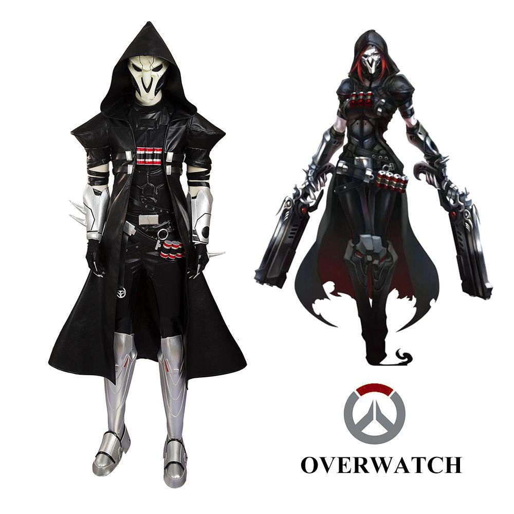 2016 overwatch reaper black uniform halloween cosplay costume customized