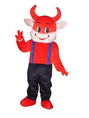 Cute Red Cow Bull Mascot Costume