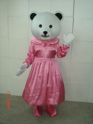 White Teddy Bear Pink Mascot Costume