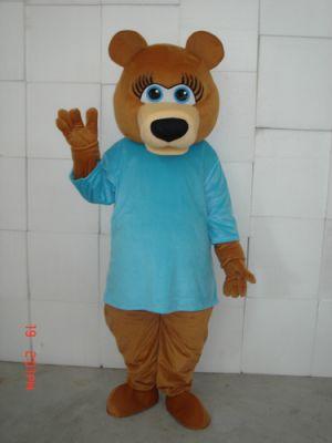 Female Teddy Bear BLUE SHIRT Mascot Costume