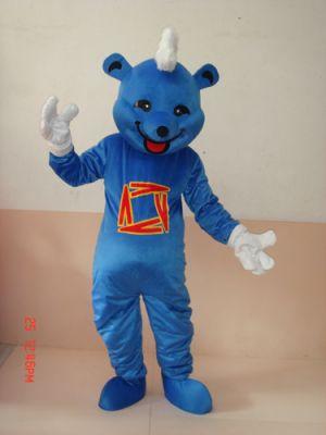 Smiling Blue Teddy Bear Mascot Costume