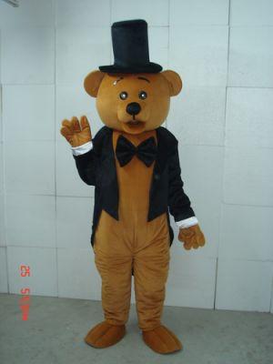 Brown Teddy Bear Gentleman Mascot Costume