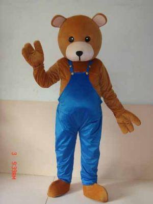 Brown Teddy Bear Wearing Blue BiB Pants Mascot Costume