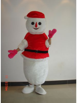 Snowman in Red Mascot Costume
