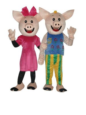 2 Male Pig and Female Pig Mascot Costume