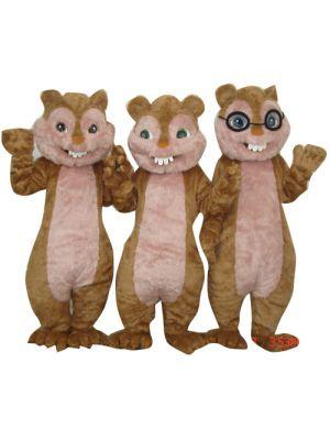 3 Plush Chinpmunk Squirrel Mascot Costume