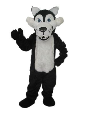 long plush white belly wolf Mascot Costume