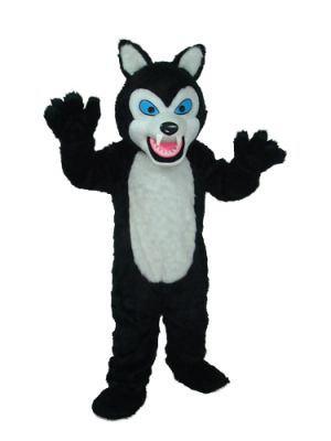 long teeth wolf black Mascot Costume