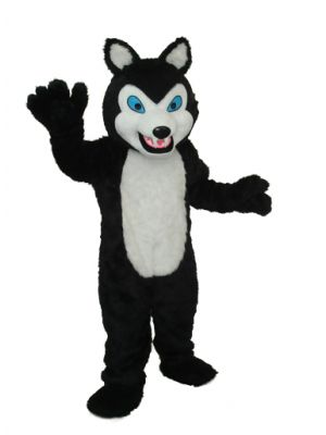 long teeth black wolf Mascot Costume