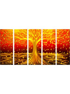Abstract Prosperity Plant Metal Wall Art Coloured  Sculpture Painting Decor