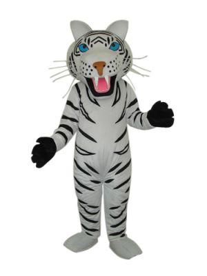 White tiger long teeth Mascot Costume