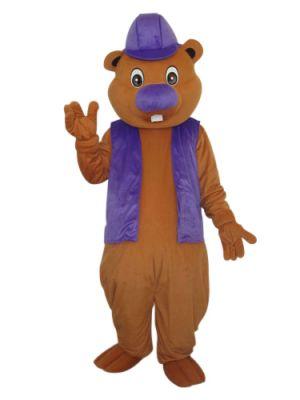 Beaver in a Purple Hat Mascot Costume