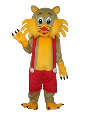Yellow cat in red Mascot Costume