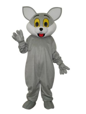 big face grey cat Mascot Costume