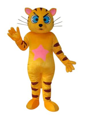 Yellow CAT Blue Eyes Mascot Costume