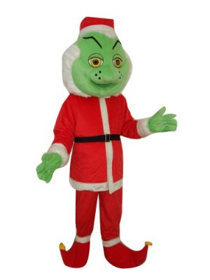 The Grinch Green Face Santa Claus Mascot Costume