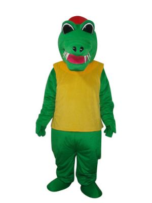 Africa Green Crocodile Alligator Red Hat Yellow Vest Mascot Costume