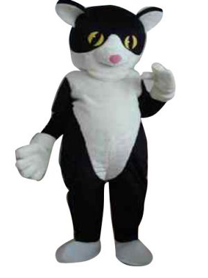 Black Cat White Belly Mascot Costume