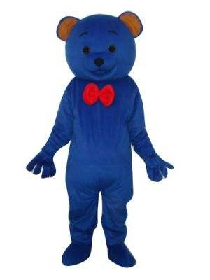 Blue Teddy Bear w Red Tie Mascot Costume