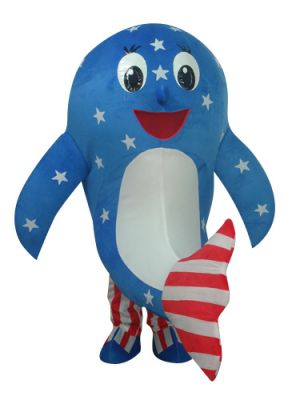 Blue American National Flag Dolphin Mascot Costume