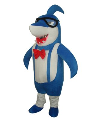Big-headed Blue Shark with Bowtie Mascot Costume