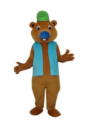 Brown Beaver w Big Tail Mascot Costume