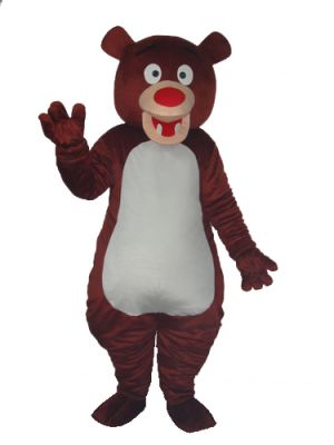Brown Teddy Bear White Belly Mascot Costume