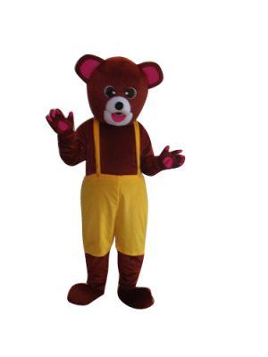 Brown Teddy Bear in Bib Pants Mascot Costume