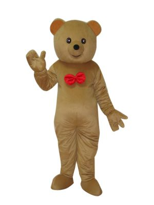Brown Teddy Bear w Red Tie Mascot Costume