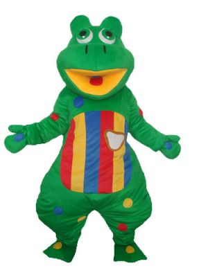 Color Stripes Big Open Mouth Green Frog Mascot Costume