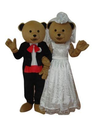 Couple of Wedding Bears Mascot Costume
