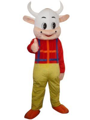 Cute Cow in Bib Pants Mascot Costume