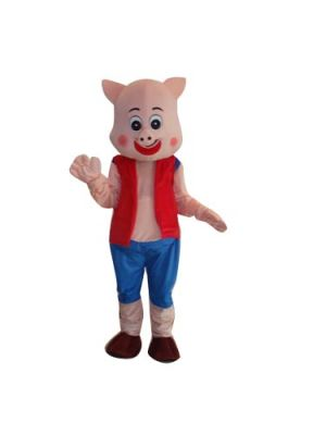 Cute Pig in Red Vest Mascot Costume