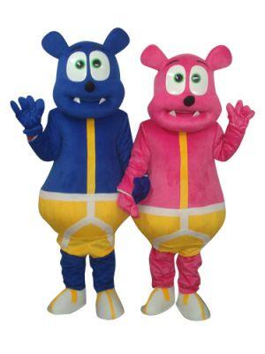 Deep Pink Bear Monster and Blue Bear Monster Mascot Costume