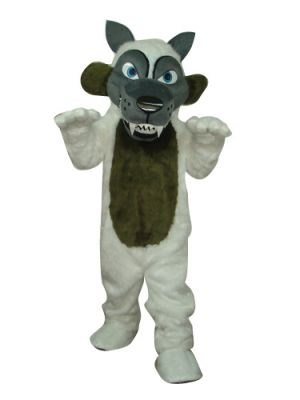 Deluxe Long Plush Long Teeth Grey Wolf Mascot Costume