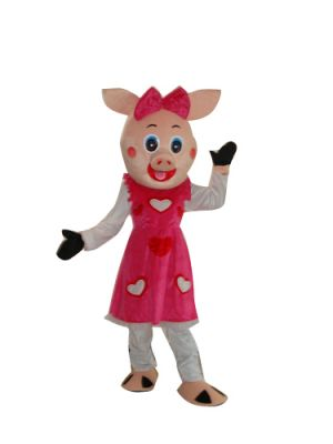 Female Pig in Nice Bowknot Mascot Costume