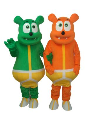 Green Bear Monster and Yellow Bear Monster Mascot Costume