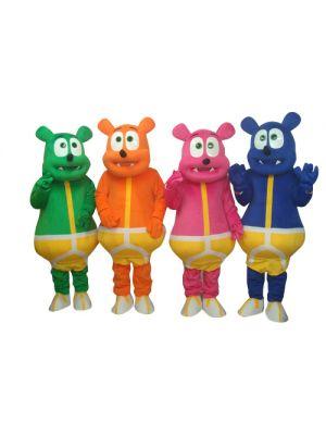Green Blue Orange Deep Pink Four Teddy Bear Monster Mascot Costume