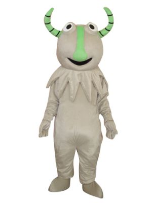 Grey Monster w Green Horns Mascot Costume