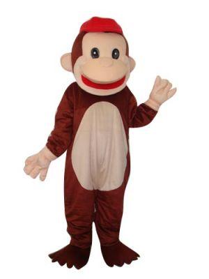Happy Monkey Orangutan Gorilla w Red Hat Mascot Costume