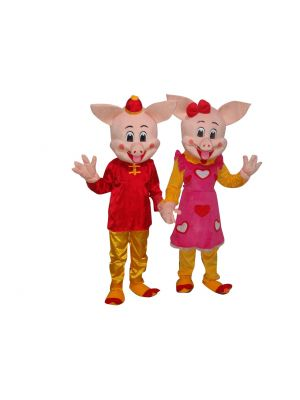 Male Pig and Female Pig 2 Mascot Costume