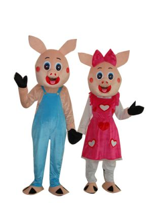 Male Pig and Female Pig 2 Pcs Mascot Costume