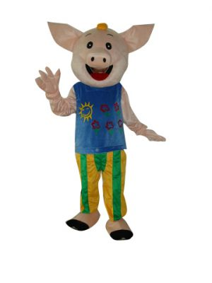 Male Pig in Blue and Pants Mascot Costume