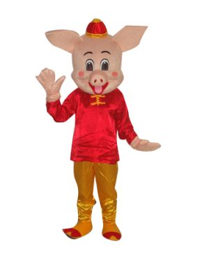 Male Pig in Nice Tang Suit Mascot Costume