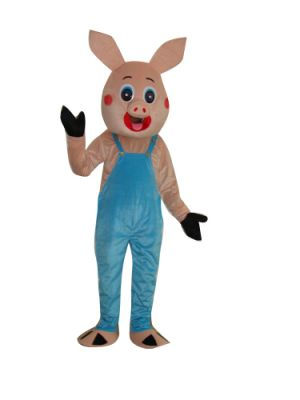 Pig in Blue Bib Pants Mascot Costume