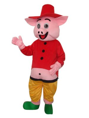 Pig in Red Dress and Hat Mascot Costume