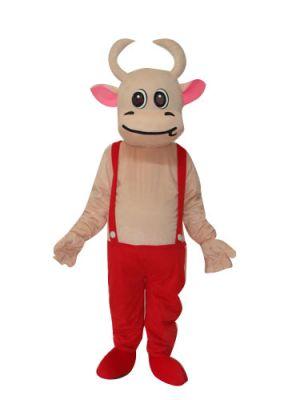 Pink Cow in Bib Pants Mascot Costume