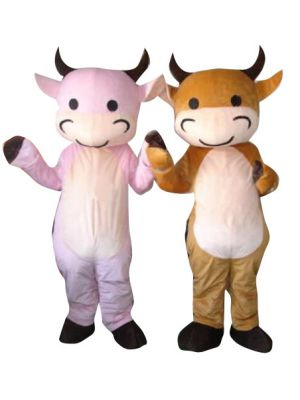 Pink and Brown Cow Ox Couple Mascot Costume
